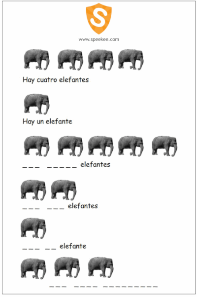 Cropped picture of elephant worksheet
