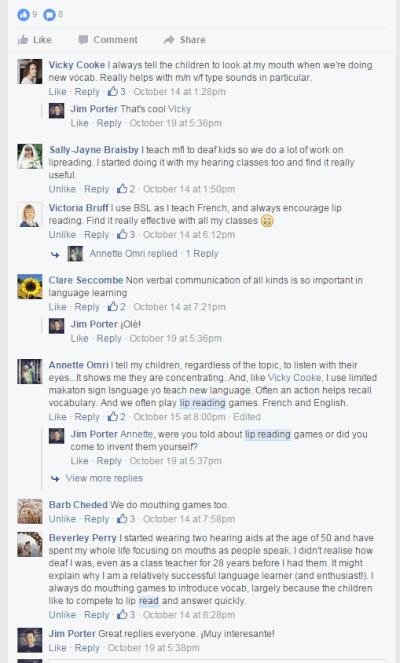 Screenshot of primary languages forum discussion