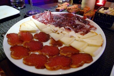 Plate of meats and cheeses