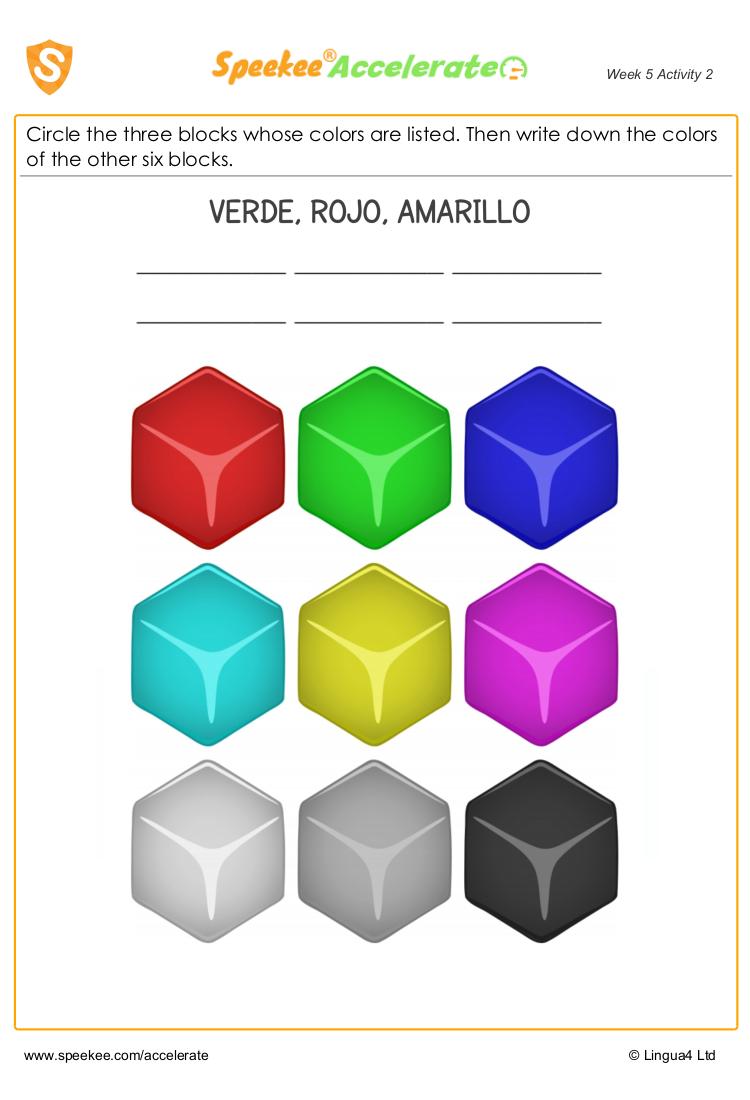 Spanish colours worksheet