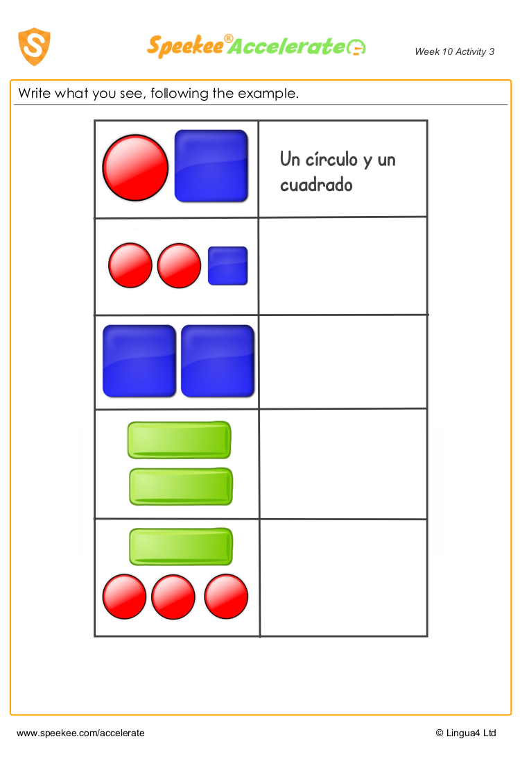 Spanish worksheet for shapes