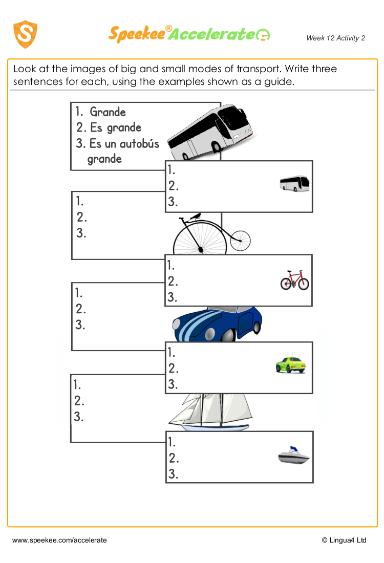 Big and small in Spanish worksheet