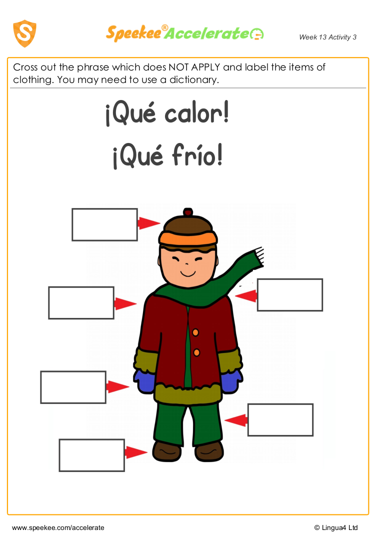 Worksheet Spanish opposites