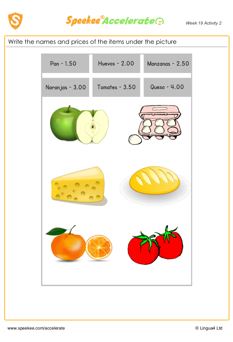 Spanish food worksheet