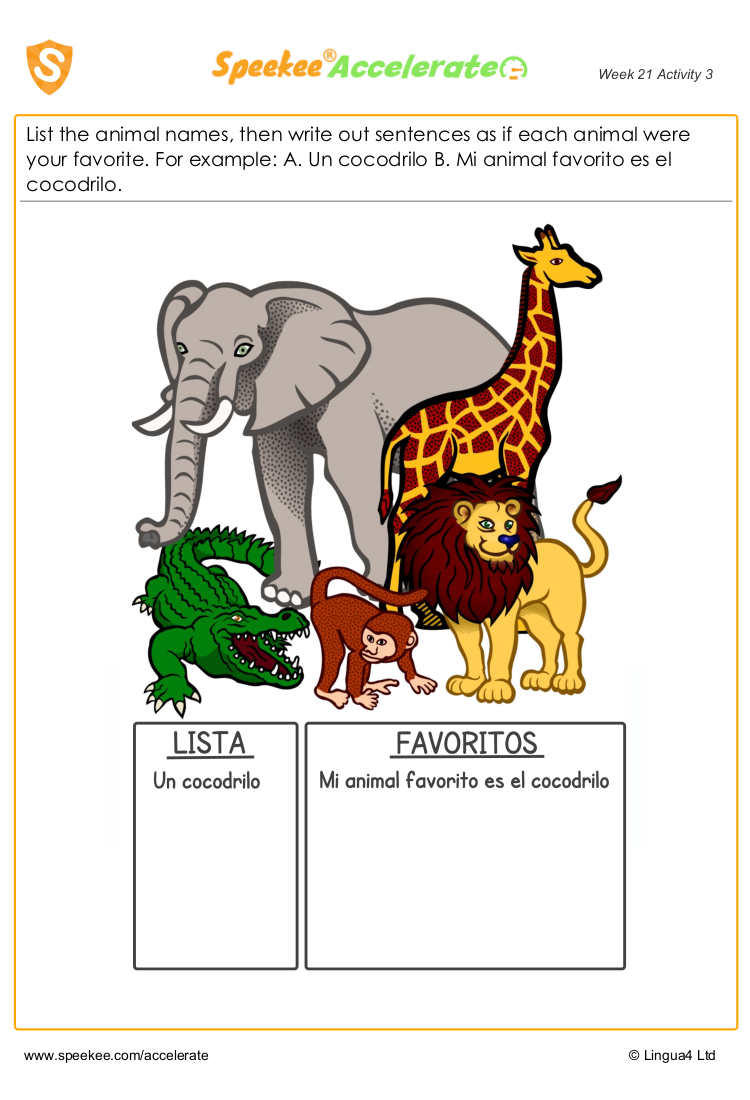 Spanish animals worksheet