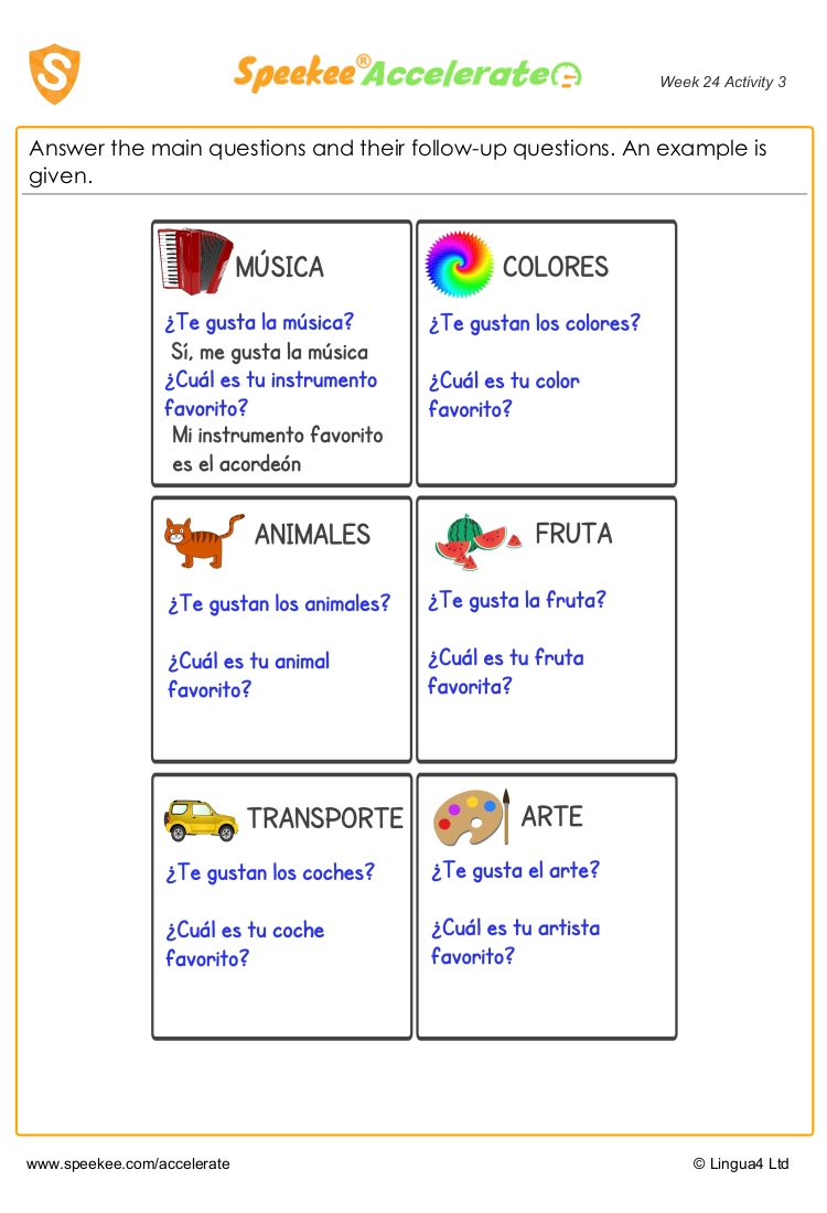 Spanish writing practice