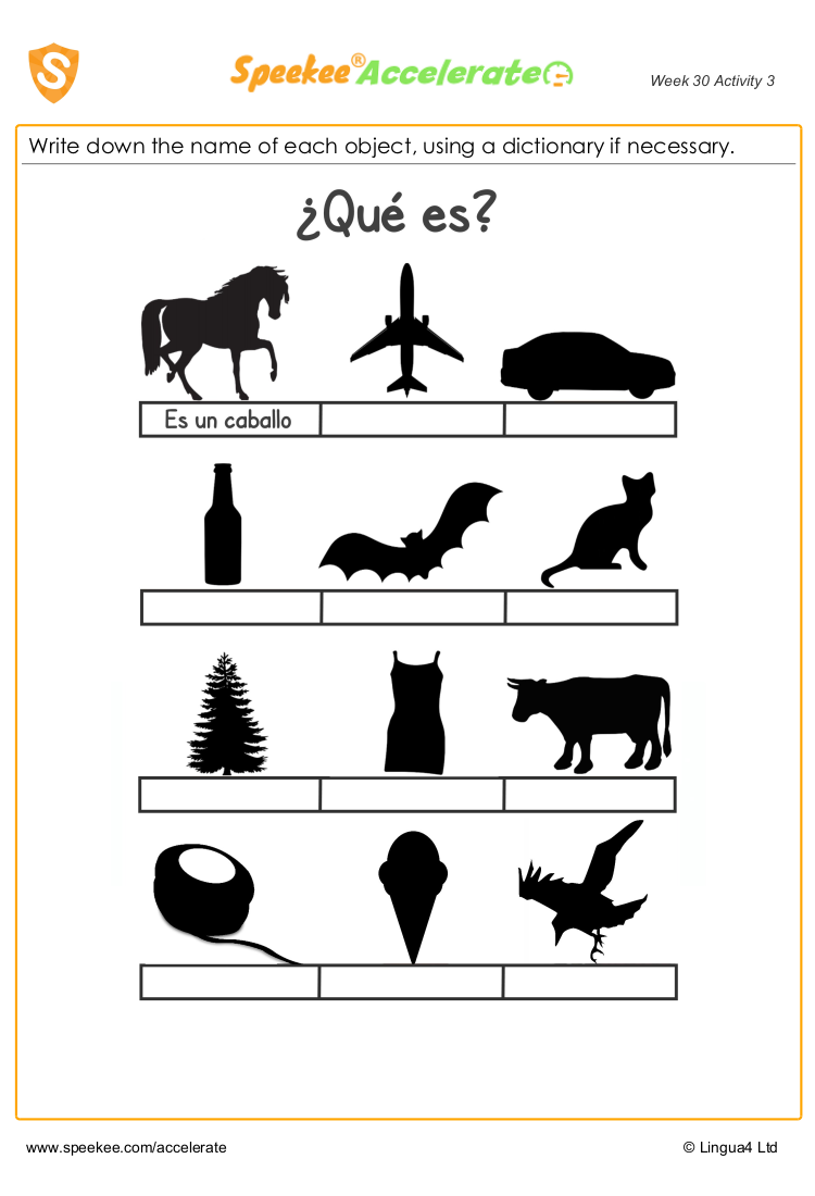 KS2 spanish worksheet