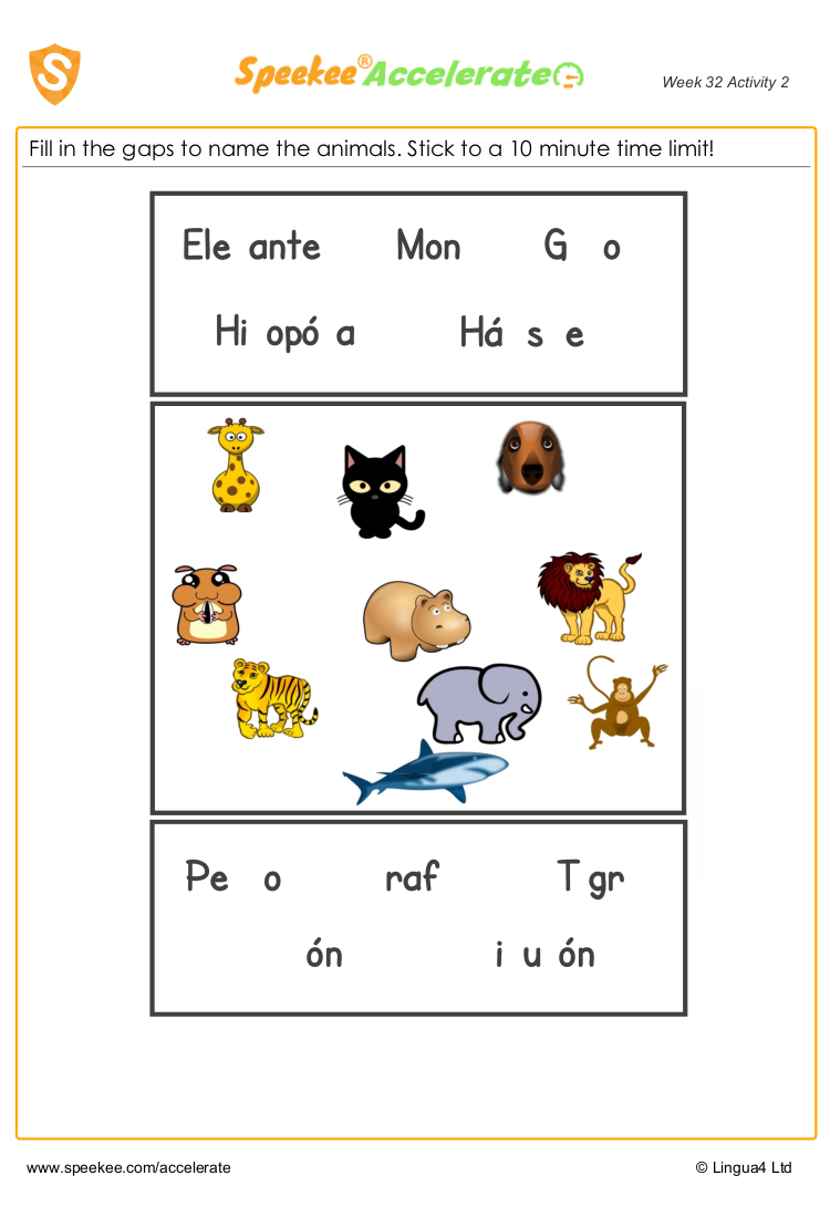 Animals in Spanish worksheet