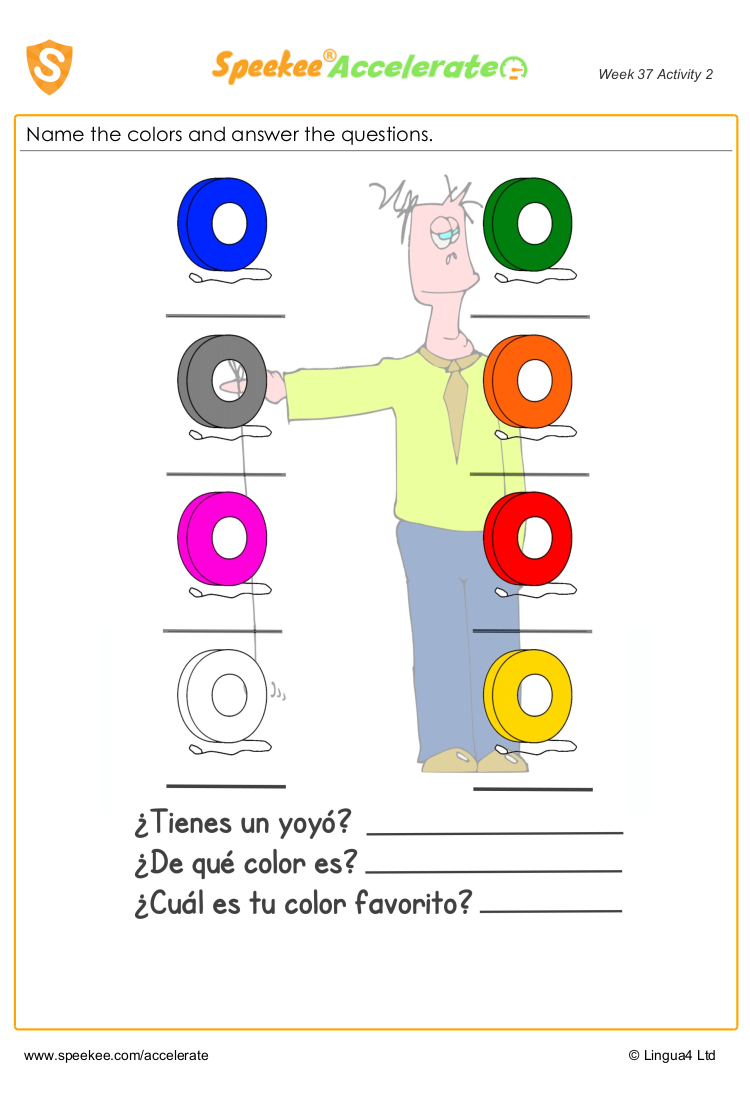Spanish colours worksheet KS2