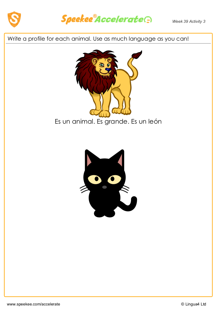 Animal worksheets in Spanish: animal profiles