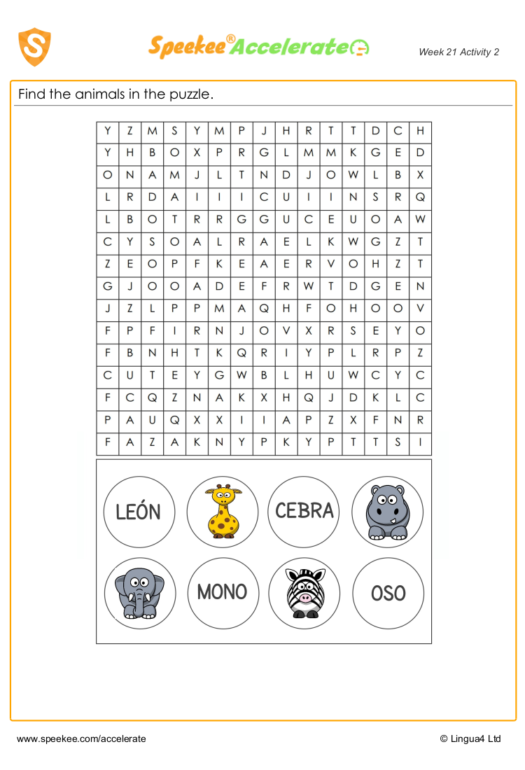 Spanish animals wordsearch