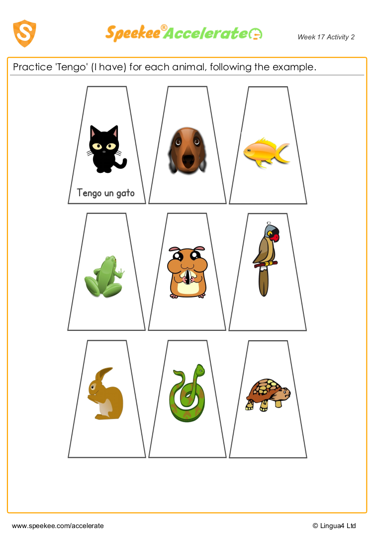 Spanish pets worksheet