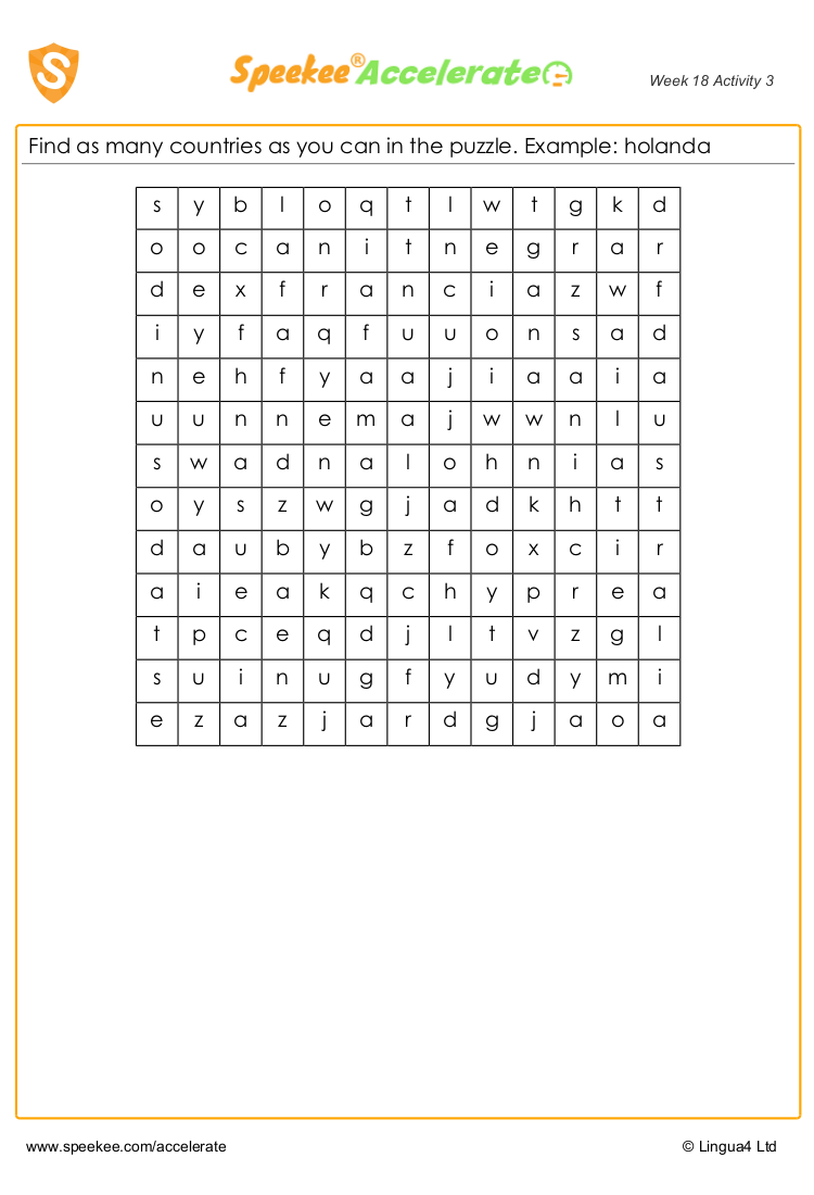Spanish countries wordsearch