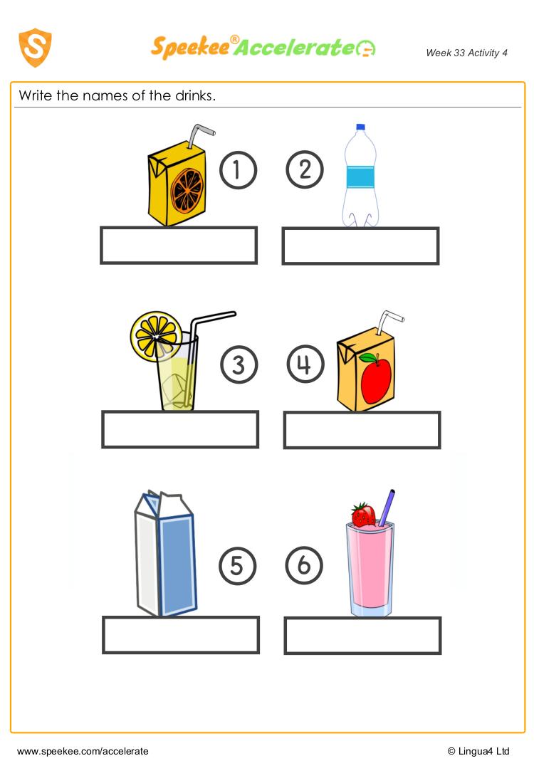 Spanish drinks handout