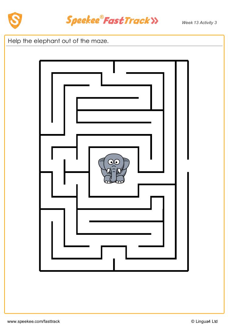 Spanish animal maze worksheet