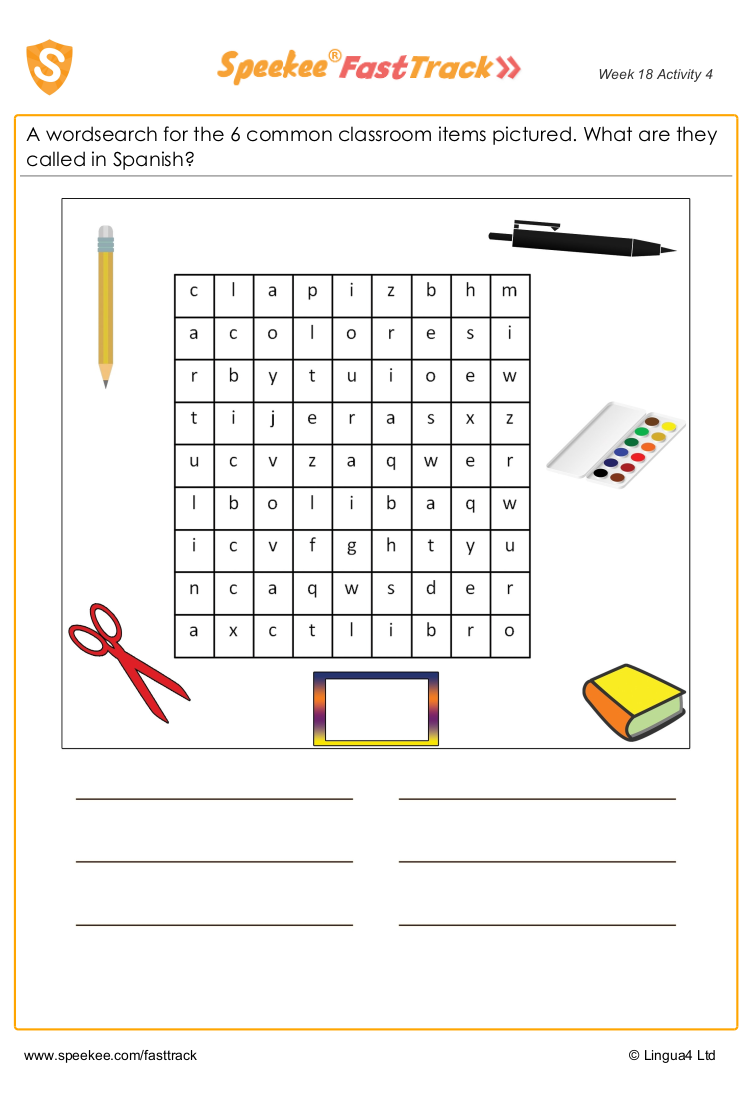 Classroom item wordsearch
