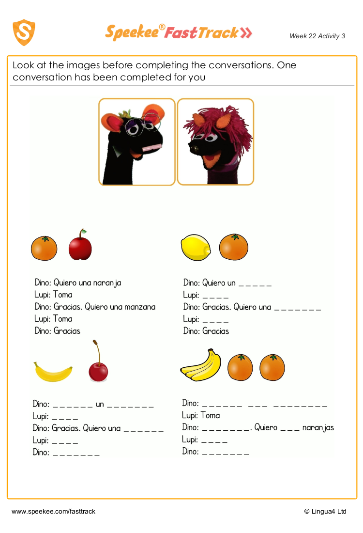 Dino and Lupi's sentence challenge