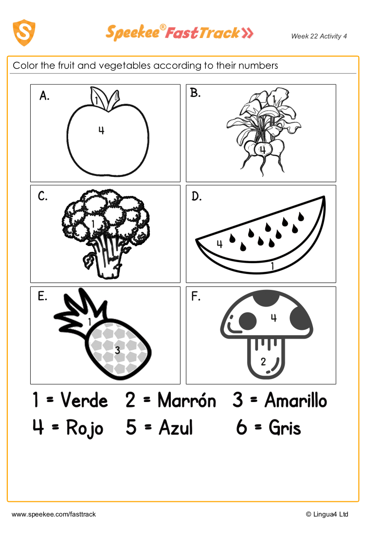 Color the fruit and vegetables