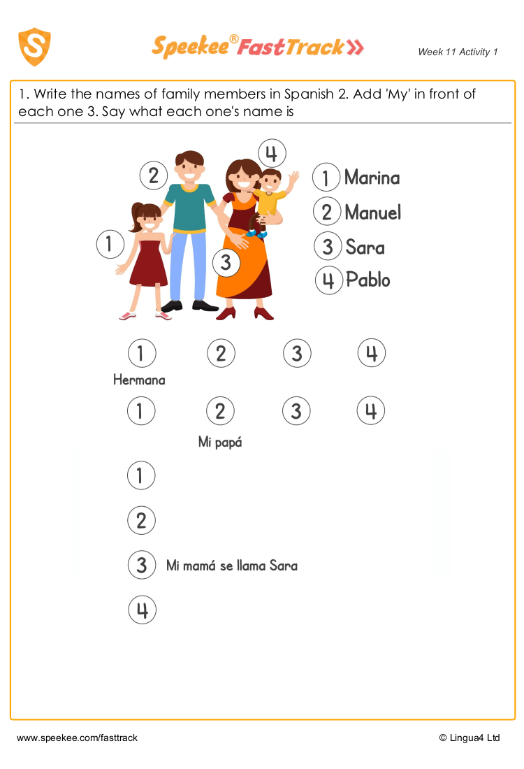 Spanish Printable: Meet the family