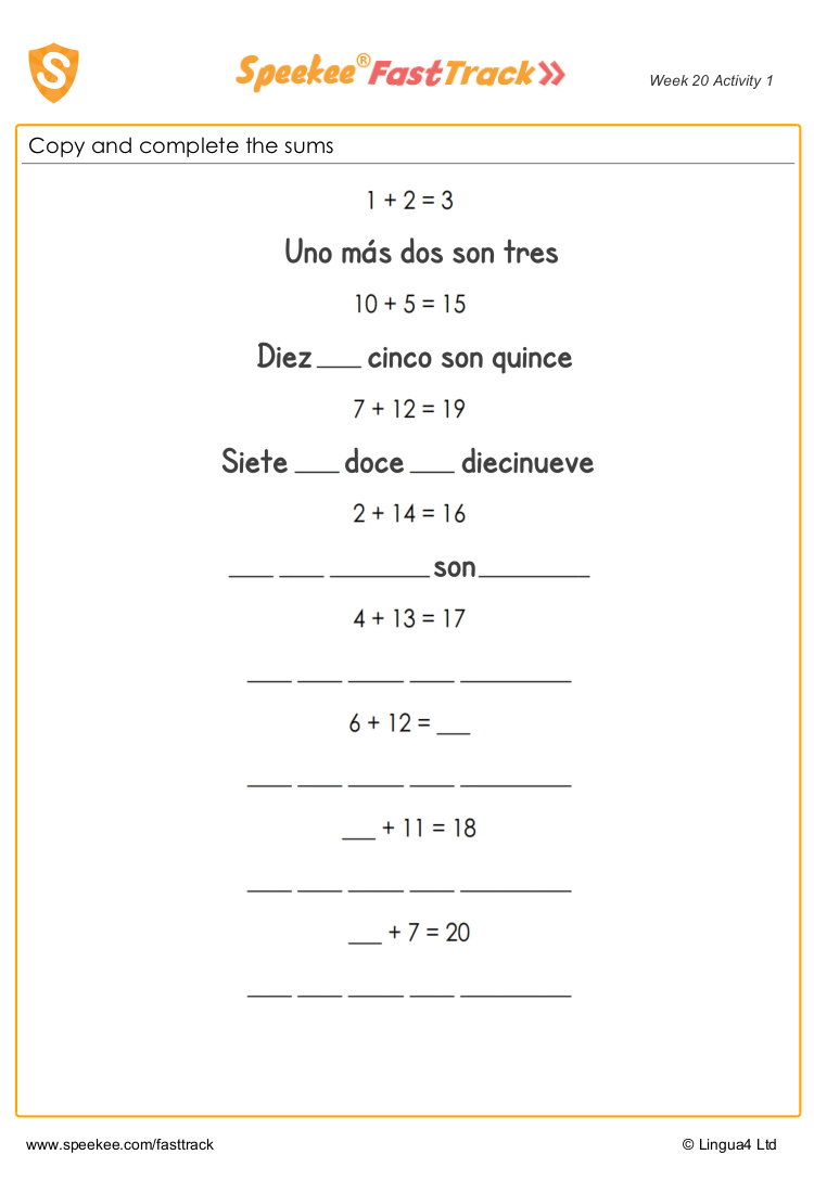 Subtraction in spanish worksheet
