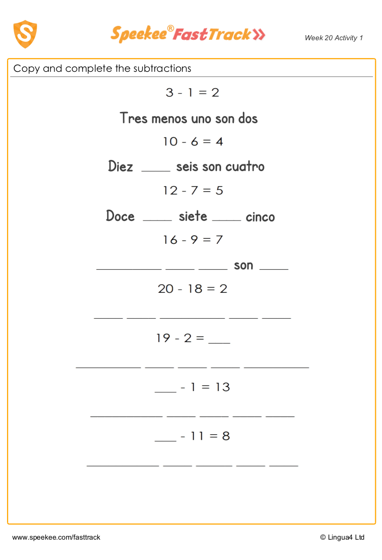 Addition in Spanish worksheet
