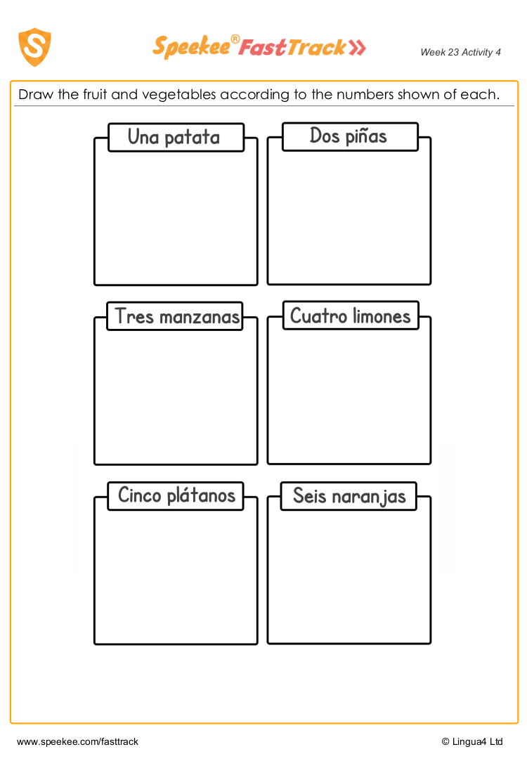 Spanish fruit and vegetables worksheet
