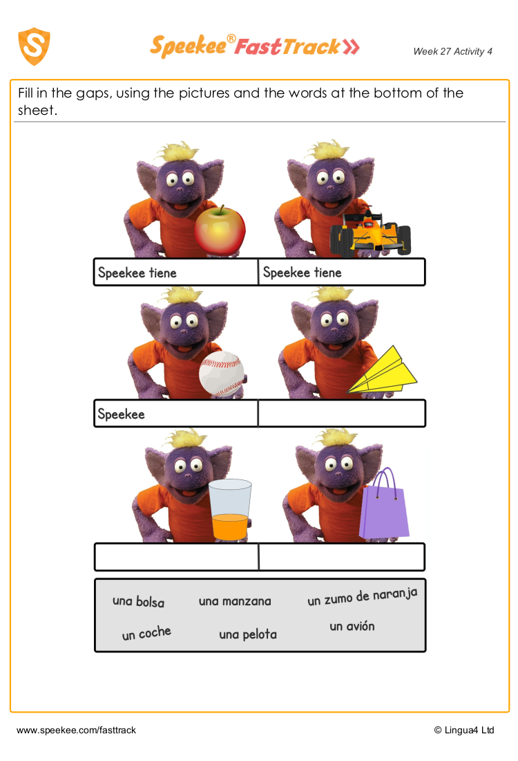 Free Speekee Spanish worksheets