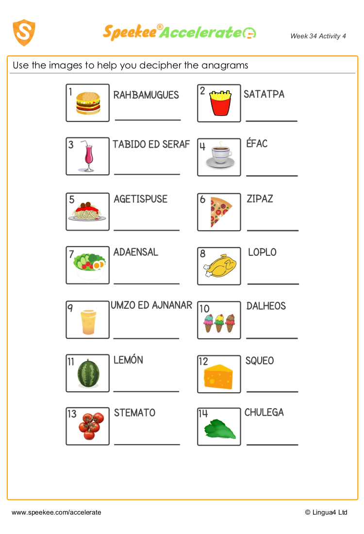 Spanish food anagrams