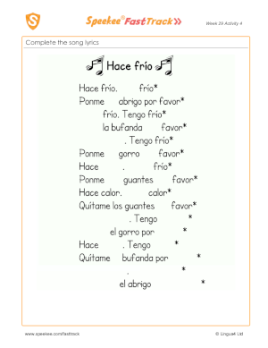 Spanish Printables - Songs