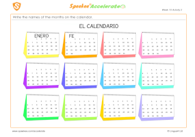 Spanish Printable: Calendar
