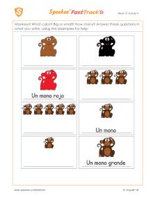 Spanish Printable: Colored monkeys