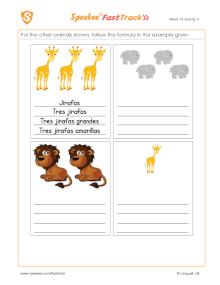 Spanish Printable: Describe the animals