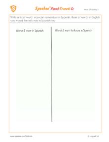 Spanish Printable: Listing words