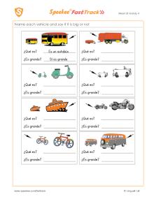 Spanish Printable: Describing vehicles