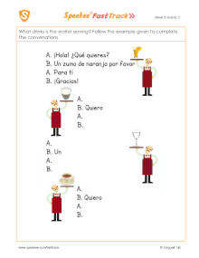 Spanish Printable: Waiter, waiter!