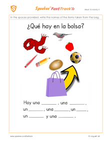 Spanish Printable: What's in the bag?