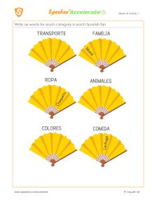 Spanish Printable: Fan categories