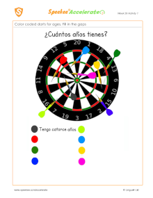 Spanish Printable: Darts for ages